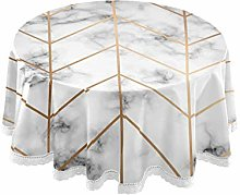CPYang Round Tablecloth Geometric Line Marble