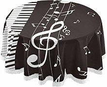 CPYang Round Tablecloth Music Notes Piano Keyboard