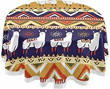 CPYang Round Tablecloth Tribal Aztec Llama Alpaca