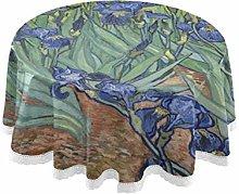CPYang Round Tablecloth Van Gogh Iris Flower