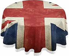 CPYang Round Tablecloth Vintage Uk Flag Union Jack