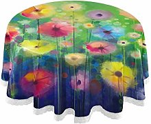 CPYang Round Tablecloth Watercolor Art Painting