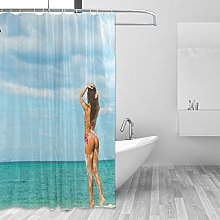CPYang Sexy Woman in Beach Polyester Fabric Shower