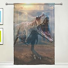 CPYang Sheer Curtain Ancient Animal Dinosaur Voile