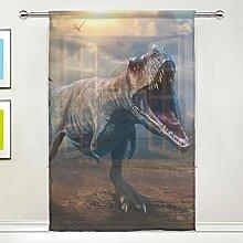 CPYang Sheer Curtain Ancient Animal Dinosaur Voile