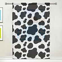 CPYang Sheer Curtain Animal Cow Print Voile Window