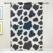 CPYang Sheer Curtain Animal Cow Print Voile Window