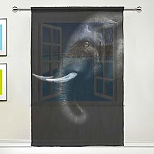 CPYang Sheer Curtain Animal Elephant Print Voile