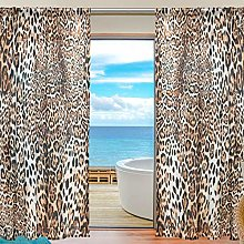 CPYang Sheer Curtain Animal Leopard Print Voile