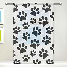 CPYang Sheer Curtain Animal Paw Print Voile Window