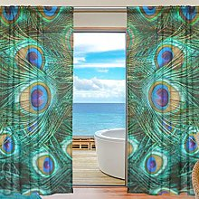 CPYang Sheer Curtain Animal Peacock Feathers Voile