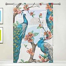 CPYang Sheer Curtain Animal Peacock Flower Tree