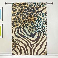 CPYang Sheer Curtain Animal Zebra Leopard Print