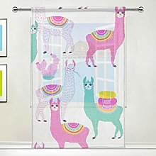 CPYang Sheer Curtain Colorful Cactus Alpaca Llama