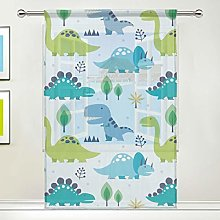 CPYang Sheer Curtain Cute Animal Dinosaurs Tree