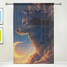 CPYang Sheer Curtain Fantasy Animal Wolf Cloud