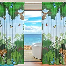 CPYang Sheer Curtain Forest Tree Animal Sloth