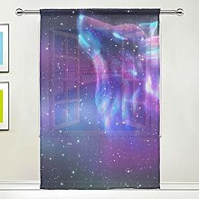 CPYang Sheer Curtain Galaxy Star Animal Wolf Voile