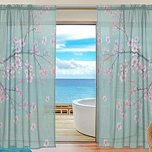 CPYang Sheer Curtain Japanese Sakura Flower Voile