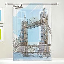 CPYang Sheer Curtain London Bridge Voile Window