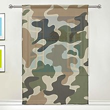 CPYang Sheer Curtain Military Camo Camouflage
