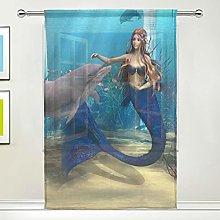 CPYang Sheer Curtain Ocean Fish Dolphin Mermaid