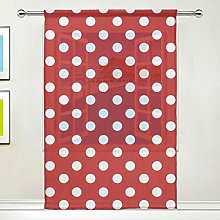 CPYang Sheer Curtain Polka Dot Pattern Voile