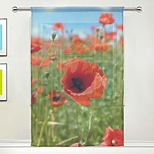 CPYang Sheer Curtain Poppy Flower Leaves Voile