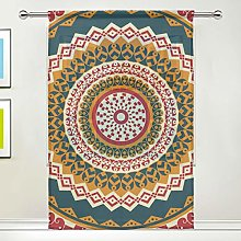 CPYang Sheer Curtain Tribal Mandala Fish Print
