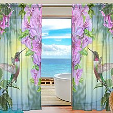 CPYang Sheer Curtain Tropical Flower Leaves