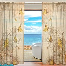 CPYang Sheer Curtain Vintage Bee Flower Voile