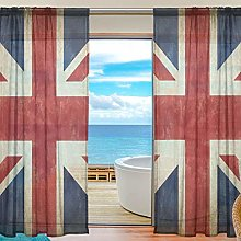 CPYang Sheer Curtain Vintage Uk Flag Union Jack