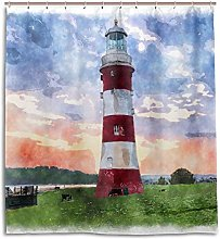 CPYang Shower Curtains Art Painting Lighthouse