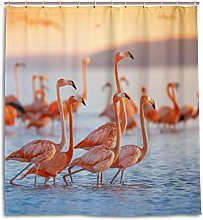 CPYang Shower Curtains Beach Flamingo Pattern