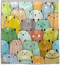 CPYang Shower Curtains Cute Cartoon Animal Cats