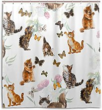 CPYang Shower Curtains Kitten Cats Butterfly