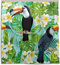 CPYang Shower Curtains Tropical Flowers Toucan