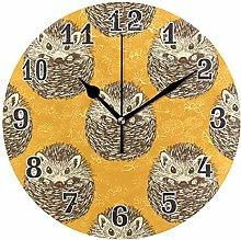CPYang Sketch Cute Hedgehog Wall Clock, Silent