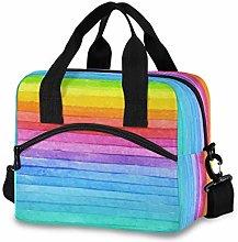 CPYang Stripe Rainbow Pattern Lunch Bag Reusable