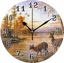 CPYang Sunset River Animal Deer Wall Clock, Silent