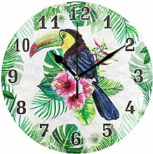 CPYang Tropical Flower Palm Leaves Bird Wall