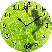CPYang Tropical Leaves Frog Wall Clock, Silent