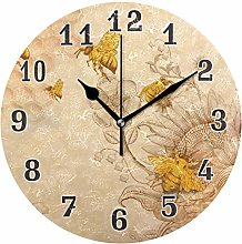 CPYang Vintage Bee Flower Wall Clock, Silent