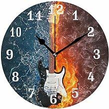 CPYang Water Fire Music Guitar Wall Clock, Silent
