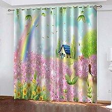 CQDSQN Window Curtain 3D Pink Flower Cottage 52 X