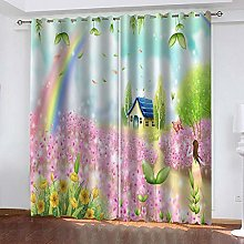 CQDSQN Window Curtain 3D Pink Flower Cottage 72 X
