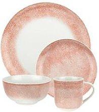 Crackle Pink Porcelain 16 Piece Dinner Set