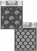 CrafTreat Floral Pattern Stencils for Furniture