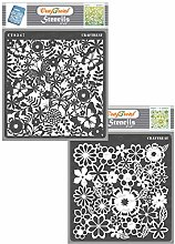CrafTreat Floral Stencils for Crafts Reusable