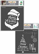 CrafTreat Merry Christmas Stencils for Crafts